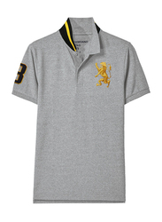 Giordano 3D Lion Multi-color Embroidery Short Sleeve Polo Shirt for Men, Double Extra Large, Grey