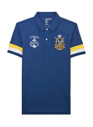 Giordano Napoleon Courage Embroidery Polo Shirt for Men, Medium, Blue