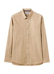 Giordano Long Sleeve Shirt for Men, Small, Dark Brown