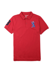 Giordano 3D Lion Multi-color Embroidery Short Sleeve Polo Shirt for Men, Medium, Red