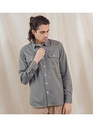 Giordano Workwear Long Sleeve Shirt for Men, Large, Dark Grey