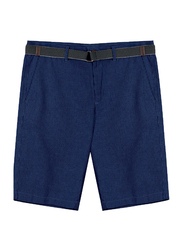 Giordano Slim Fit Linen Shorts with Belt for Men, 31 US, Blue