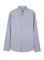 Giordano Wrinkle-free Oxford Stripe Long Sleeve Shirt for Men, Small, Navy Blue/White