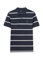 Giordano Short Sleeve Classic Embroidery Stripe Polo Shirt for Men, Small, Blue