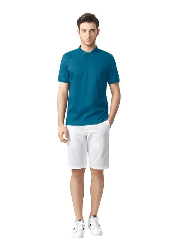 Giordano Luxury Touch Short Sleeve Polo Shirt for Men, Medium, Blue