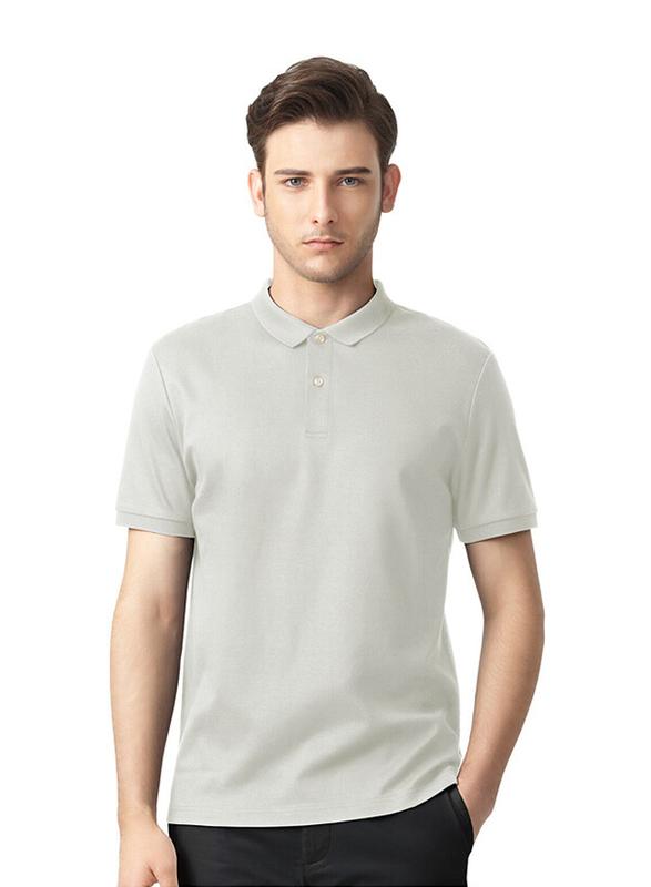 Giordano Luxury Touch Short Sleeve Polo Shirt for Men, Medium, Grey