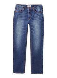 Giordano Low Rise Slim Tapered Denim Pants for Men, 32 US, Mid Indigo