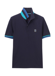 Giordano Small Lion Embroidery Short Sleeve Polo Shirt for Men, Double Extra Large, Navy Blue