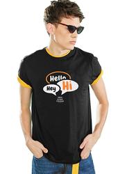 Giordano Short Sleeve Greeting Message T-Shirt for Men, Large, Black