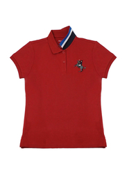 Giordano Short Sleeve 3D Napoleon Printed Polo Shirt for Women, Extra Large, Red