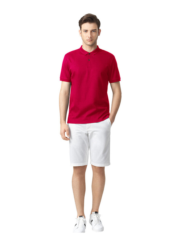 Giordano Luxury Touch Short Sleeve Polo Shirt for Men, Medium, Red
