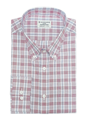 Giordano Wrinkle Free Long Sleeve Shirt for Men, Large, White/Red Check