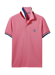 Giordano Small Lion Embroidery Short Sleeve Polo Shirt for Men, Double Extra Large, Pink