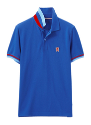 Giordano Small Lion Polo Shirt for Men, Large, Blue/Red/Sky Blue