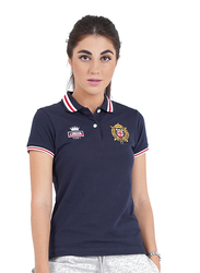 Giordano Short Sleeve Bold Embroidery Printed Polo Shirt for Women, Small, Blue