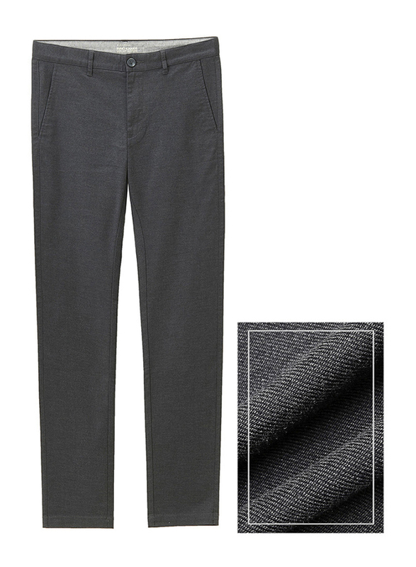 Giordano Low Rise Slim Tapered Khakis Pants for Men, 29 US, Dark Grey