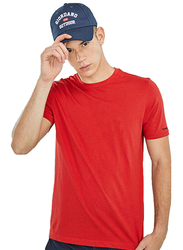 Giordano Crew Neck Shot Sleeve T-Shirt for Men, Large, Haute Red
