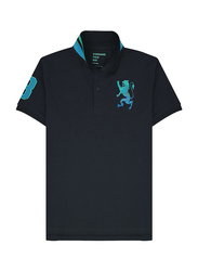 Giordano 3D Lion Multi-color Embroidery Short Sleeve Polo Shirt for Men, Small, Black