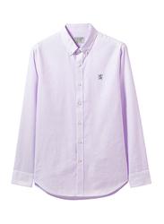 Giordano Oxford Long Sleeve Shirt for Men, Medium, Purple/White