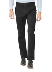 Giordano Stretchy Mid Rise Regular Tapered Pants for Men, 29 US, Black