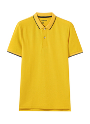 Giordano Contrast Tipping Short Sleeve Polo Shirt for Men, Small, Yellow