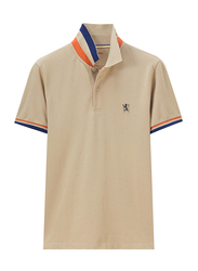 Giordano Small Lion Polo Shirt for Men, Large, Light Khaki