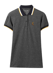 Giordano Short Sleeve Deer Embroidery Polo Shirt for Women, Small, Grey