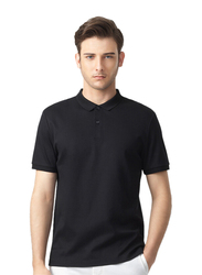 Giordano Luxury Touch Short Sleeve Polo Shirt for Men, Medium, Black