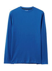Giordano Cotton Solid Crewneck Long-Sleeves T-Shirt for Men, Extra Large, Blue