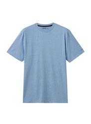 Giordano Crew Neck Shot Sleeve T-Shirt for Men, Large, Melange Baltic Sea Blue