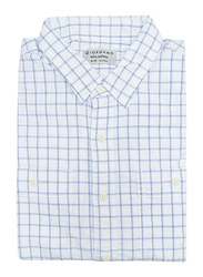 Giordano Cotton Check Pattern Chambray Shirt for Men, Medium, White/Blue