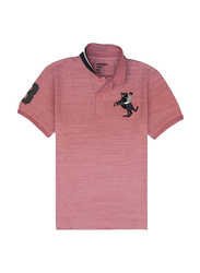 Giordano Short Sleeve 3D Napoleon Polo Shirt for Men, Double Extra Large, Pink
