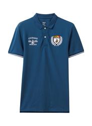Giordano Napoleon Courage Embroidery Short Sleeve Polo Shirt for Men, Small, Dark Blue