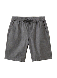 Giordano Slim Fit Elastic Waist Cotton Casual Shorts for Men, Extra Large, Grey