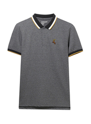 Giordano Short Sleeve Deer Embroidery Polo Shirt for Men, Small, Grey