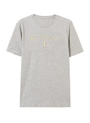 Giordano Print Short Sleeve T-Shirt for Men, Small, Mid Heather Grey
