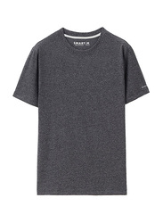Giordano Crew Neck Shot Sleeve T-Shirt for Men, Large, Grey