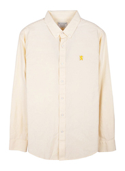 Giordano Oxford Long Sleeve Shirt for Men, Small, Light Yellow