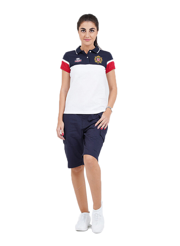 Giordano Short Sleeve Bold Embroidery Printed Polo Shirt for Women, Small, White/Red/Blue