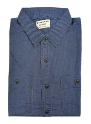 Giordano Cotton Stripe Pattern Chambray Shirt for Men, Small, Navy/Blue