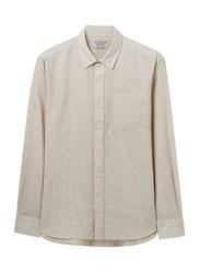 Giordano Linen Cotton Long Sleeve Shirt for Men, Large, Khaki
