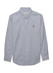 Giordano Oxford Long Sleeve Shirt for Men, Large, Multi Grey