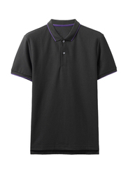 Giordano Contrast Tipping Short Sleeve Polo Shirt for Men, Extra Large, Black/Purple