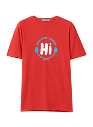 Giordano Short Sleeve Greeting Message T-Shirt for Men, Extra Large, Red