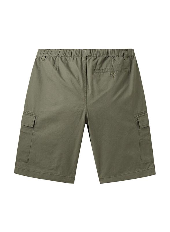Giordano Cotton Casual Cargo Shorts for Men, Medium, Green