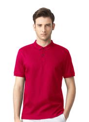 جيوردانو قميص بولو مطبع بأكمام قصيرة للرجال M أحمر
