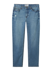 Giordano Low Rise Slim Tapered Denim Pants for Men, 32 US, Washed Mid Indigo