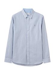 Giordano Embroidery Details Stripe Cotton Oxford Shirt for Men, Small, Navy Blue/White