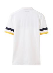 Giordano Napoleon Courage Embroidery Polo Shirt for Men, Medium, White