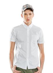 Giordano Wrinkle Free Short Sleeve Shirt for Men, Large, White
